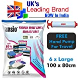 Vacuum Compressed Space Saver Storage Bags set of 6 Large(100x80CM) - Extra Strong Double-Zip Seal and Triple Seal Turbo Valve for Ultra Compression   Ideal for Clothes, Duvets, Bedding, Pillows, Curtains and Travelling   Screw Type Pump for Travel Included
