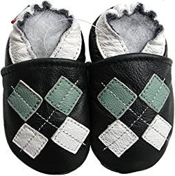 Carozoo baby boy soft sole leather infant toddler kids shoes Argyle Black 6-7y
