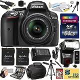 Nikon D5300 24.2 MP CMOS Digital SLR Camera with 18-55mm f 3.5-5.6G ED VR II AF-S DX NIKKOR Zoom Lens (Black) (1522) with Professional Accessory Bundle Kit includes 64GB SD Memory Card + SD Card Reader + 60