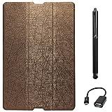 DMG Premium Slim Fit Tri Fold Stand Book Cover Case For HTC Google Nexus 9 (Brown) + Stylus + USB OTG Cable