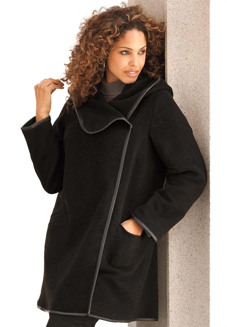 Roamans Women's Plus Size Contrast Trim Wrap Coat