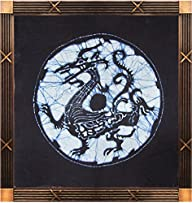 Chinoiseriehouse Four Mythical Beasts Series Handmade Batik Painting Wall Decor Tapestry Blue…