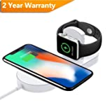 TrophyRak Magnetic Wireless Charger 2-in-1 Pad Stand Cable Compatible with Apple Watch, for iPhone X/8/8 Plus, Compatible with iWatch Series 1/2/3/4, 38mm 42mm, Samsung S8 Series, Note 8 (Tamaño: 2-in-1 Charger)