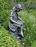 Large Bronze Garden Statues - Reading Girl Figurine Sculpture