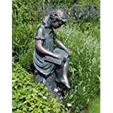 Large Bronze Garden Statues - Reading Girl Figurine Sculpture