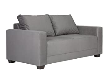 Massivum Sofa Imola 2Sitzer Velourstoff, grau, 86 x 162 x 85 cm