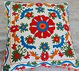 100% Cotton Designer Suzani Cushion Covers, Vintage Throw Pillow Cases Decor 16x16''