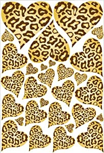 Amazon Com Leopard Cheetah Print Hearts Wall Stickers