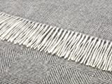 Bronte by Moon Alpaca Throw, Grey Diamond Herringbone