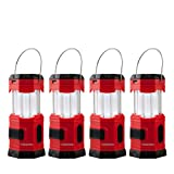 TANSOREN 4 Pack Portable LED Camping Lantern Solar USB Rechargeable or 3 AA Power Supply, Built-in Power Bank Compati Android Charge, Waterproof Colla