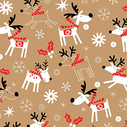 "Reindeer Hop Kraft Wrapping Paper Roll 24"" X 15'"