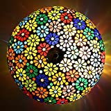 EarthenMetal Handcrafted Mosaic Decorated Circular Multicoloured Flowers Glass Ceiling Lamp