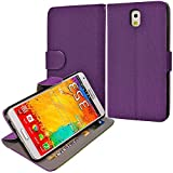 myLife Deeply Purple {Classy Design} Faux Leather (Card, Cash and ID Holder + Magnetic Closing) Slim Wallet for Galaxy Note 3 Smartphone by Samsung (External Textured Synthetic Leather with Magnetic Clip + Internal Secure Snap In Closure Hard Rubberized Bumper Holder)