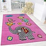 Kinderzimmer Teppich Niedliche Bunte Tierwelt Elefant und Eulen in Pink