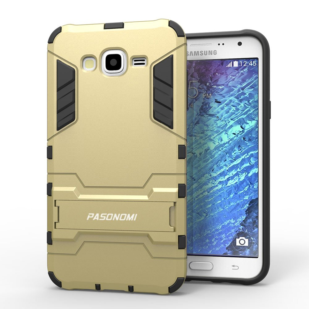 J7 Case, Galaxy J7 Case, Pasonomi® [Heavy Duty] [Shock-Absorption] [Kickstand Feature] Hybrid Dual Layer Armor Defender Full Body Protective Case Cover for Samsung Galaxy J7 (Kickstand Series Golden)