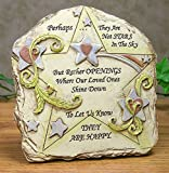 Memorial Plaque Stone Look With Bereavement Remembrance Message That Reads: Perhaps They Are Not Stars in the Sky but Rather Openings Where Our Loved Ones Shine Down to Let Us Know They Are Happy -- Display on Desktop or Shelf Decoration Easel Back - Polystone -- 5 Inch