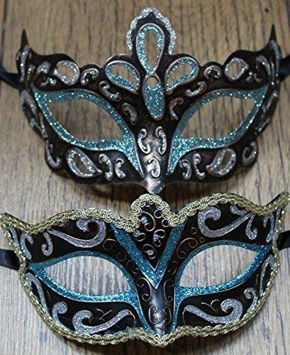 son-et-sien-deux-coordonnee-venitien-masque-de-mascarade-partie-des-yeux-masque-turquoise-bleu-noire