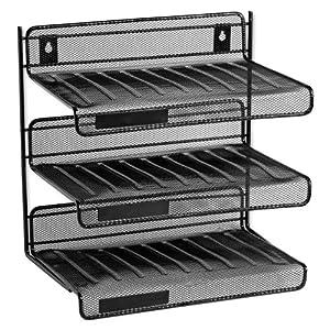 Rolodex Mesh Collection 3-Tier Desk Shelf, Letter-Size, Black (22341)