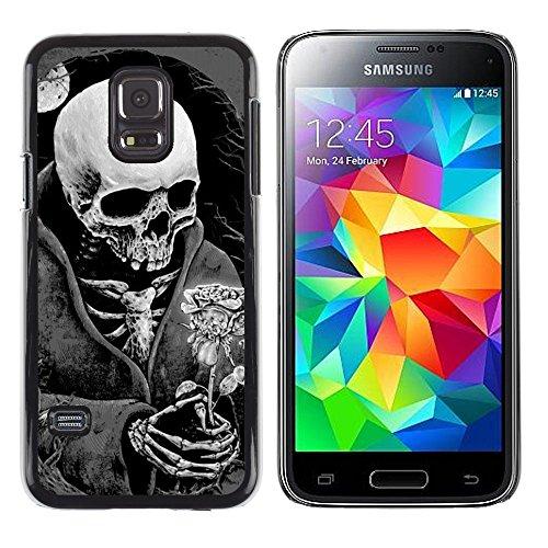 Copertura di plastica Shell Custodia protettiva || Samsung Galaxy S5 Mini, SM-G800, NOT S5 REGULAR! || Death Skull Black White Moon Rose @XPTECH