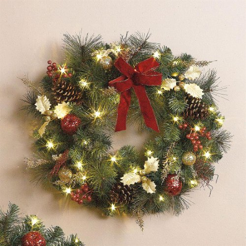 battery operated christmas wreaths best selection price. Black Bedroom Furniture Sets. Home Design Ideas