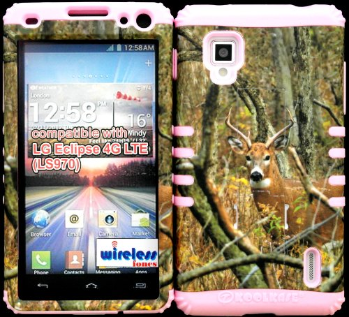 Sprint Lg Optimus G Ls970 Hybrid 2 In 1 Kickstand Protective Cover Case Mossy Camo Real Deer With Hard Plastic Snap-On Over Baby Pink Silicone. front-923455