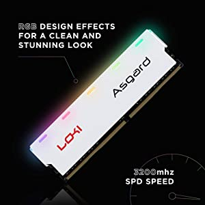 Asgard Loki Gaming 16GB RGB (2x8GB Kit) DRAM DDR4 3200Mhz (PC4-25600) C16 Desktop Memory White