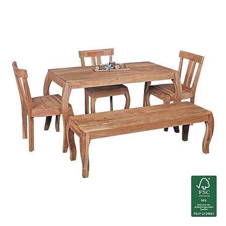 Tavolo da pranzo design Kila in legno massiccio acacia 140x 70cm