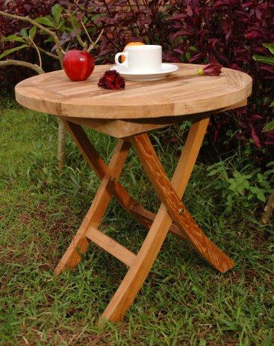 Anderson Teak Bahama Mini Side Round Folding Table, 20-Inch photo