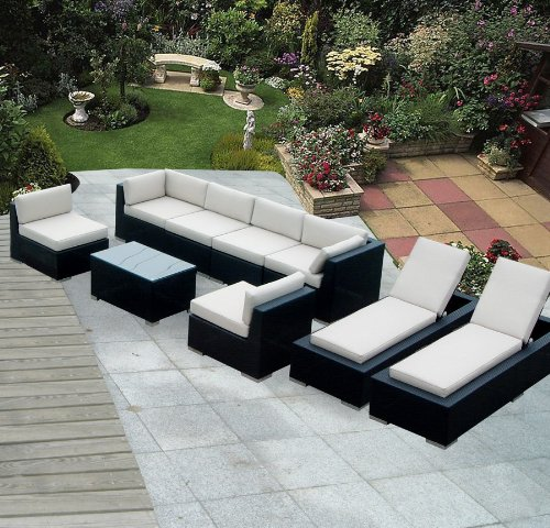 Ohana Collection Genuine Ohana Outdoor Sectional Sofa and Chaise Lounge Set (9 Pc Set) with Free Patio Cover at Sears.com