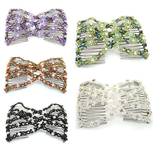 Lovef 5pcs New Stretch Flower Bow Glass Bead Hair Head Comb Cuff Double Clip Good Gift (Double Comb Hair Clip compare prices)