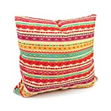 Benfan Cotton Canvas Decorative Square Throw Pillow Cover with Red Chains Pattern Size 18 by 18 Inches