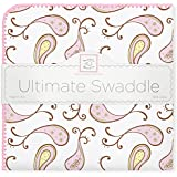 SwaddleDesigns Ultimate Receiving Blanket, Triplets Paisley, Pastel Pink