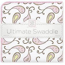 SwaddleDesigns Ultimate Receiving Blanket, Triplets Paisley, Pastel Pink