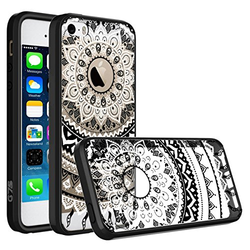 iPhone 5 5S Case, iPhone SE Case, SmartLegend Retro Totem Mandala Floral Pattern Clear Acrylic PC Hard Back Cover with TPU Bumper Frame Hybrid Transparent Protective Case for iPhone 5 5S SE - Black (Cute Iphone 5s Bumper Cases compare prices)