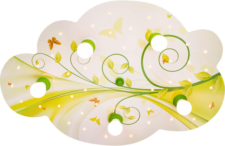 Elobra Deckenleuchte Wolke Blume-Phantasie mit Nachtlicht LED, lindgrün / gelb 131114