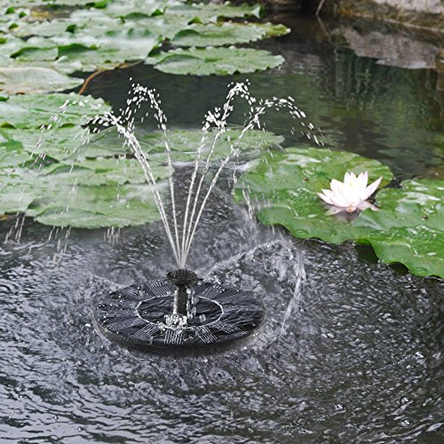 Iegeek upgraded version 7v 1 4w solar power fountain pond for Small garden pond water pumps