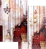 Bellaa 3-Panel Double Sided Painting Canvas Room Divider Screen, French Style Fleur De Lis Wall Decor
