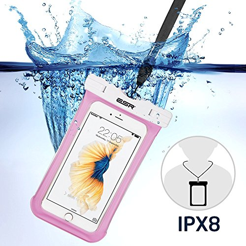 iphone6s/Samsung防水ケース ESR スマホ防水ケース 防水カバー 防水保護等級IPX8取得 水深30m防水テスト 安全ロック100%密封 内蔵ポケット付属 iphoneSE/5s/iPhone6s Plus/iPhone6s/Samsung Galaxyなど6センチ以下全機種対応 iphone6/6s携帯防水ポーチ ピンク