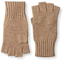 Thirty Five Kent Men\'s Cashmere Solid Knit Fingerless Gloves, Natural