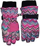 Nice Caps Girls Thinsulate and Waterproof Zig Zag Print Ski Glove (8-12yrs)