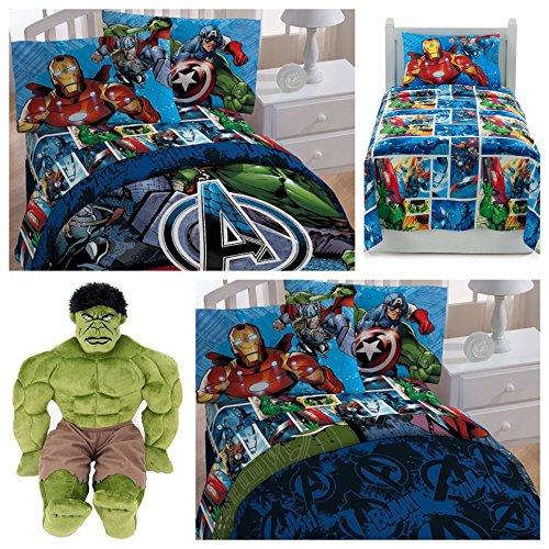 Marvel Avengers 5 Piece Twin Bedding Set - Reversible Comforter, 3 Piece Sheet Set and Hulk Pillow Buddy
