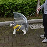 Alcoa Prime Transparent Pet Umbrella Small Dog Umbrella Rain Gear With Dog Leads Keeps Pet Dry Comfortable In...