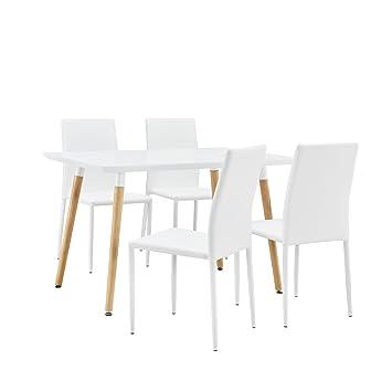 [En.casa] Elegante mesa de comedor / mesa de cocina (120x80cm) con 4 sillas tapizadas de cuero sintético PU - blanco - Conjunto de comedor - Ahorra al comprar el set