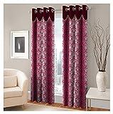 FASHIONFAB 2 Piece Polyester Window Curtain - 5ft, Maroon