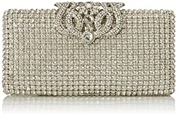 MG Collection Gemma Flap Lock Clutch, Silver, One Size
