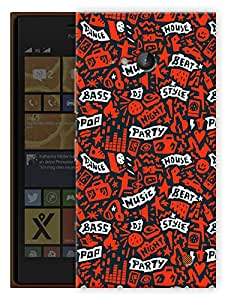 "Humor Gang Music Love Abstract Pattern - Red Printed Designer Mobile Back Cover For ""Nokia Lumia 730"" (3D, Matte, Premium Quality Snap On Case)"