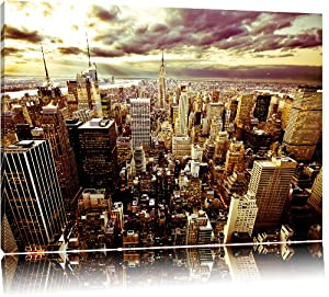 skyline new york blick vom dach des empire state building bild auf leinwand xxl riesige. Black Bedroom Furniture Sets. Home Design Ideas