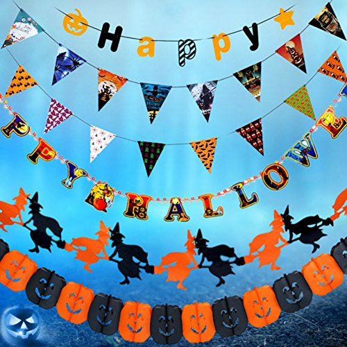 Halloween Party Hanging Decorations String Curtain Banner Pennant Flag Pumpkin Skull Spider (Style 1)