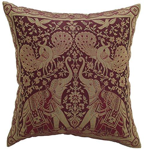 Avarada Kissenhülle, Elefanten-/Pfau-Motiv, indischer Stil, 40x40cm, Braun