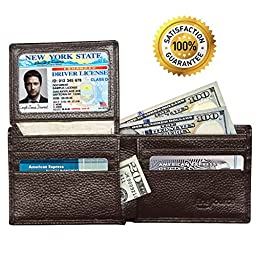 FineSource RFID Blocking Men\'s Leather Wallet Stops Electronic Pick Pocketing Works Against Identity Theft & Credit Card Data Breach by Stopping RFID Scans (Coffee)